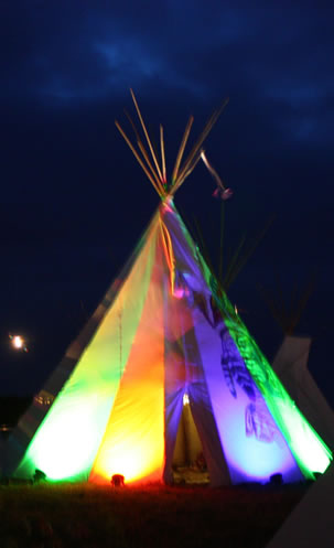 Tipi with lightshow